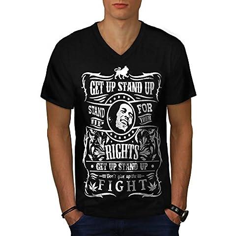 Bob Marley Citation Supporter Bats toi Men L T-shirt à col en V | Wellcoda