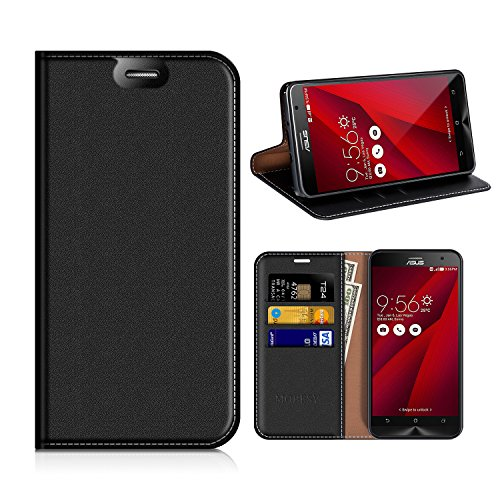 MOBESV ASUS Zenfone 2 ZE551ML Hülle Leder, ASUS Zenfone 2 Tasche Lederhülle/Wallet Case/Ledertasche Handyhülle/Schutzhülle mit Kartenfach für ASUS Zenfone 2 ZE551ML - Schwarz