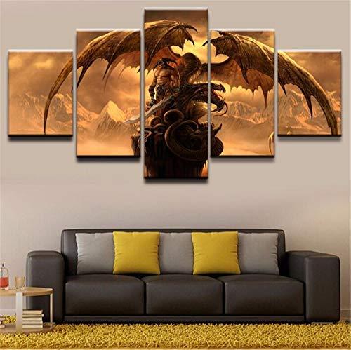 ZKPWLHS Stampe e Quadri su Tela 5 Pezzi Drago Fantasy Spada Guerriero  Moderno Wall Art HD Poster Stampato con Cornice House Decor [A] Frameless