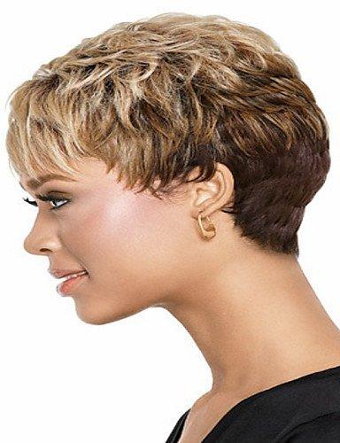 Perruque & xzl Perruques Fashion europe et aux états-unis couleurs de mélange élégant courts bouclés perruques de cheveux synthétiques