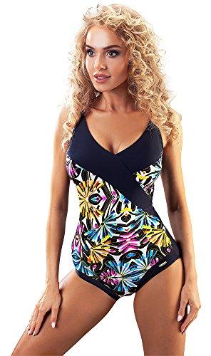 aQuarilla Damen Badeanzug AQ163 (Schwarz/Muster, ()
