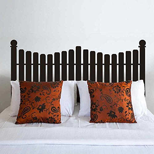 lafzimmer Headboard Wall Decal Picket Fence style for Twin Full Queen King Size Bed Vinyl Wall Decal Sticker(Black, Full) ()
