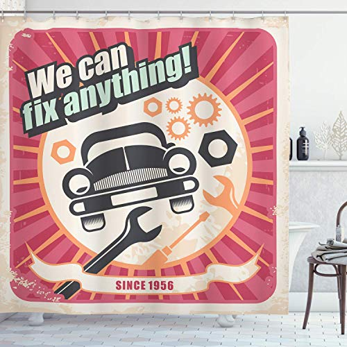 1950s Decor Collection, Auto Service Retro Poster and Mechanic Transport Workshop Quotes We Can Fix Anything Design, Polyester Fabric Bathroom Shower Curtain Set with Hooks, Pink White 60X72 Inch