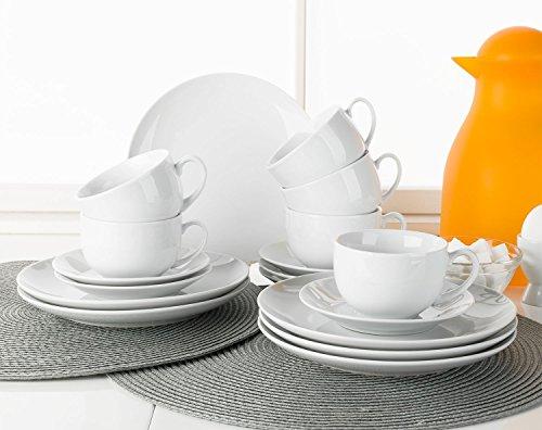 Home4You Kaffee-Service Kaffeegeschirr Geschirrset VIOLA | 18-tlg. (6 Personen) | Weiß | Porzellan