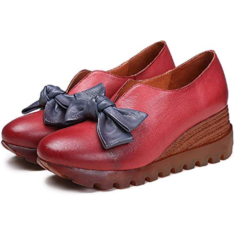 Qiusa Bowknot Mary Mary Mary Jane Femmes Talon compensé Slip on Leather Shoes (coloré : Rouge, Taille : EU 38) - B07HVMPB74 - 9d0ec6