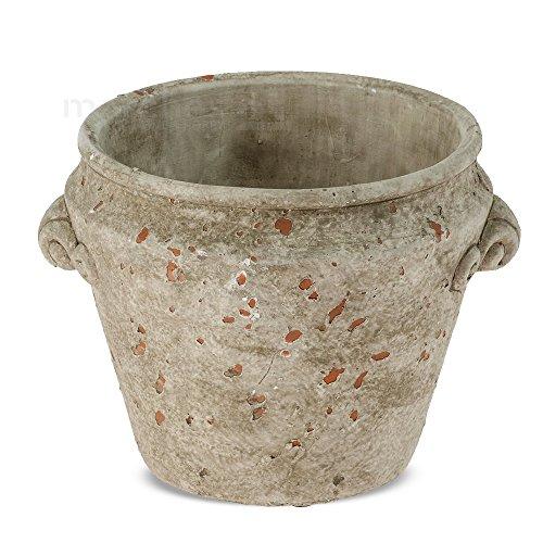 matches21 Dekorativer Übertopf Pflanztopf als Krug / Topf im antiken Look konisch Zement grün /...