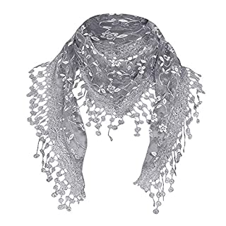 Anglewolf Women Lace Sheer Floral Scarf Shawl Wrap Tassel New Ladies Women's Colony Flamboyance of Solid Colour Travelling Touring Fringe Square Cotton Linen Stole Muffler Beach(Gray)