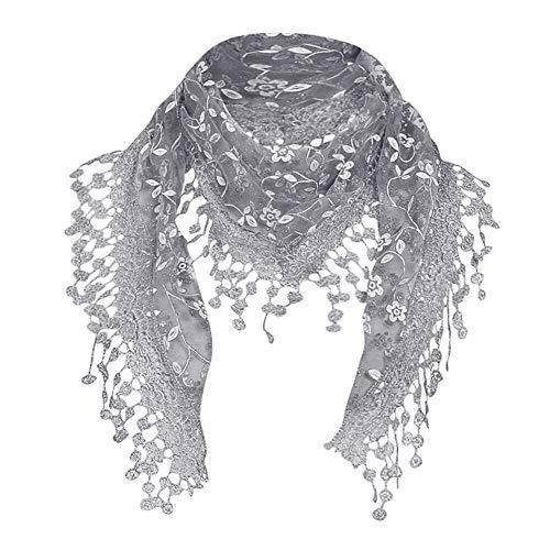 CANDLLY Schal Damen, Mode Damen Beiläufig Spitzen Schal Schier Blumen Schal wickeln Quaste Schal(Grau,One Size