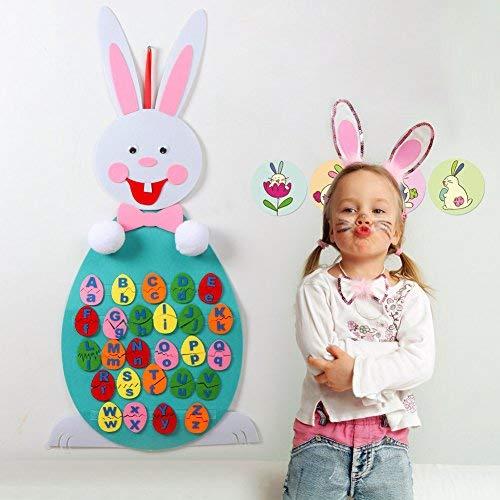 Aparty4u 1 stück DIY Ostern Fühlte Hase Kaninchen mit 20 stücke Abnehmbare Ostereier Alphabet Passendes Spiel Set für Kinder Spielzeug