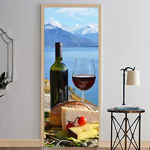 CCNIU 3D Tür Aufkleber, DIY Rotwein Essen Wandaufkleber PVC Wasserdicht Selbstklebend Entfernbar Wandgemälde Glas Hölzern Tür Wand Renovierung Bad Zuhause Dekoration, 77 * 200CM