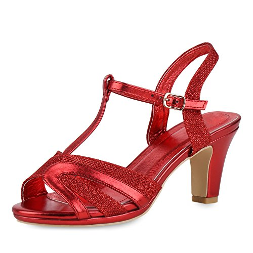 SCARPE VITA Damen Schuhe Riemchensandaletten Metallic Sandaletten High Heels Glitzer 154731 Rot 37 (Rote Glitzer High Heels)