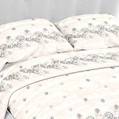 Lara morada set completo letto lenzuola flanella 100% cotone dis almerinda (beige, matrimoniale 2p)