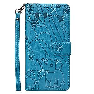 Hülle für iPhone Xs Max(6.5 inch)Mit Schlüsselband,PU Klapphülle Brieftasche Kartenfächer Handyhülle Stylish Flip Magnetverschluss Geschlossen Case mit Standfunktion 3D Feuerwerk Elefant (Blau)