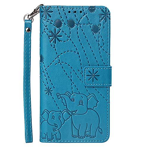 Hülle für Samsung Galaxy A7 (2018) Mit Schlüsselband,PU Klapphülle Brieftasche Kartenfächer Handyhülle Stylish Flip Magnetverschluss Geschlossen Case mit Standfunktion Feuerwerk Elefant (Blau)