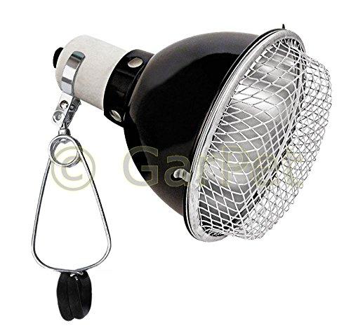 Terrarium Klemmlampe Reflektor Schutzgitter Clamp Lamp Keramikfassung Lampe E27 14 cm -