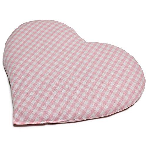 Kirschkernkissen Herz   ca. 30x25cm Bio Stoff rosa-weiß   Wärmekissen   Körnerkissen   Ein charmantes Geschenk