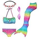 Maillots de Bain Filles Maillots de Bain Bikini Sirène Tails Maillot de Bain avec tête Guirlande et Lunettes de plongée (130(6-8ans), GB04-Rainbow)