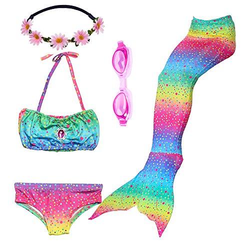 3 pezzi ragazze marmaids sirena costume da bagno swimsuit swimwear bikini set monopinna 3-12 anni (130(6-8y), gb04-rainbow)