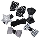 #6: Phenovo 6pcs Mixed Ribbon Bow Hairpin Hair Clips for Girl Kid Hair Accessories Black