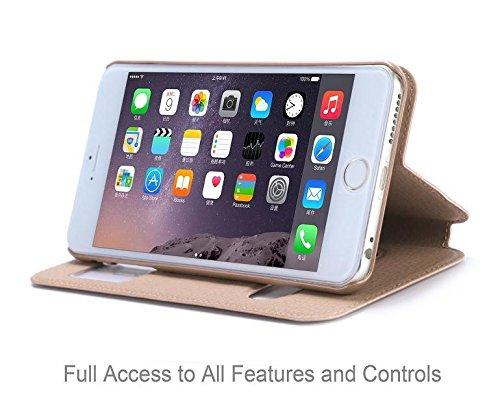 Aeontop 4 en 1 Custodia in pelle Protettiva Cuoio Portafoglio Flip Cover per Apple iPhone 6 Plus 5.5 con chiusura magnetica e View Finestra Doppia, Pellicola di Protezione e dello stilo Incluse, Mage #Oro