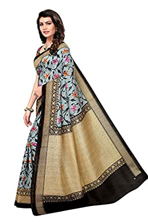 Applecreation women's art silk saree with blouse piece (SRJB005_Black_Free Size)