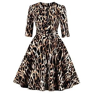◑‿◑ JUSTSELL 50 Kleider für Damen,Frauen Leopard-Druck Kleider Kurzarm Kleider Sexy Party Kleider mit Gürtel