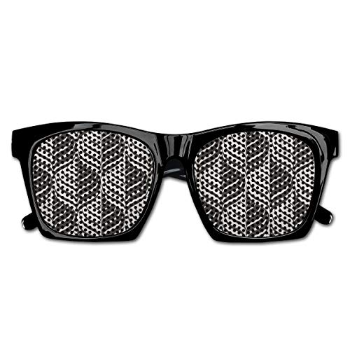 EELKKO Mesh Sunglasses Sports Polarized, Monochrome Curves Pattern Abstract Leaf Design Floral Foliage Retro Look,Fun Props Party Favors Gift Unisex