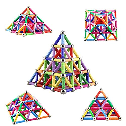 Veatree 206 Stücke Puzzle Magnetische Bausteine Spielzeug Magnet BAU Bauen Kit Bildung Spielzeug für Kinder Spielen Stacking Spiel mit Magnetischen Ziegeln und Sticks (Bau-spielzeug Für Kinder)