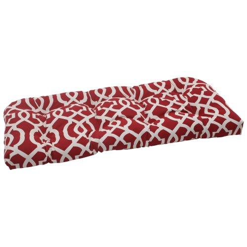 Pillow Perfect Indoor/Outdoor New Geo Wicker Loveseat Cushion, Red by Pillow Perfect (Outdoor-wicker Loveseat)