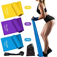TKLake Resistance Bands Set, 3 Pack Exercise Resistance Bands with 3 Resistance Levels-1.5M/1.8M/2M Exercise Bands Resistance for Women and Man,Ideal for Strength Training,Yoga,Pilates,Fitness