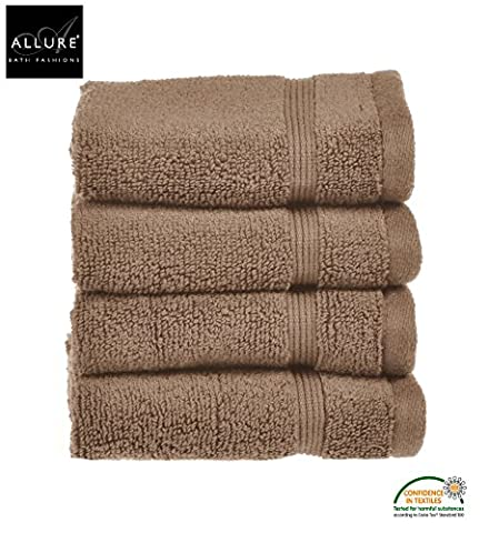 Luxury Supersoft Egyptian Cotton Face Cloths Flannel Towels by Allure Bath Fashions 4 x Absorbent and Quick Dry Face Cloth Flannel Towels Set 30 x 30cm 500gsm in Mocha / Coffee / Chocolate / Brown (4x Face Towels)