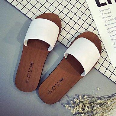 zhENfu donna pantofole & amp; flip-flops sandali Comfort PU esterna di estate passeggiate tacco piatto bianco nero Champagne sotto 1in White