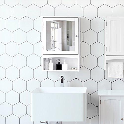 SONGMICS Spiegelschrank, Wandschrank verstellbarem Einlegeboden, Medizinschrank im Landhausstil, Badschrank aus Holz, weiß, 48 x 65 x 16 cm (B x H x T),