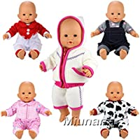 Miunana 5 PCS Fashion Clothes Dresses For 14 -16 Inch Baby Dolls Newborn Dolls And Other 14 - 16 Inch Dolls