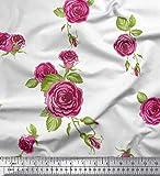 Soimoi Weiß Samt Stoff Blätter & Austin Rose Blume Stoff