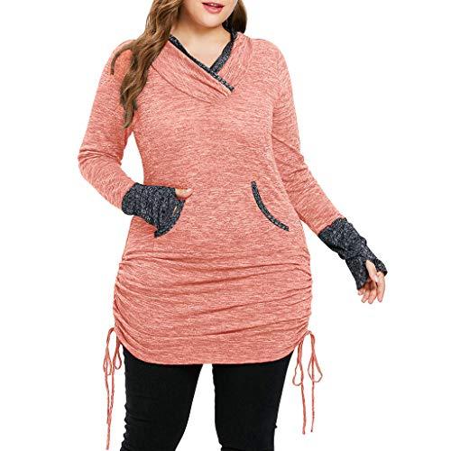 Damen Groß Langarmshirts,Bovake V-Ausschnitt Longsleeve Lose Handschuh Design Hemd Mode Casual Sweatshirt Bluse Oversize Oberteil Tops