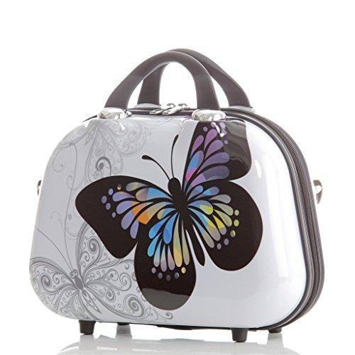 Reisekoffer 2060 Hartschalen Trolley Kofferset in 12 Motiven SET--XL-L--M-- Beutycase (Butterfly, M(Handgepäck)) - 3