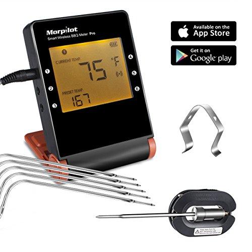 Digital Thermometer Fleisch mit 6 Fühler, Morpilot Bluetooth Grillthermometer Funk Bratenthermometer, 1 Grillclip, 100M Reichweite, Großen LCD Display, ℃/℉ einstellbar, für Grillen, Backen, Kochen