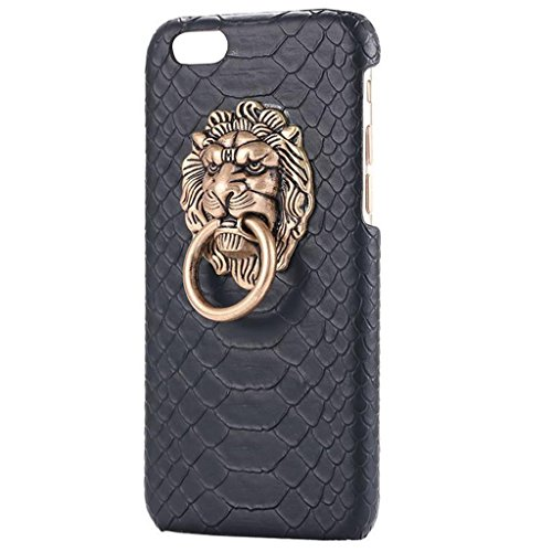 Generic Imported Fashion 3D Lion Head Metal Holder Shockproof Black Case For iPhone 6S Plus