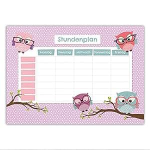 Papierdrachen Stundenplan Schule DIN A4 Block - Motiv Eule - beschreibbar zum Aufhängen und für ins Schulheft - Terminkalender Wochenplan