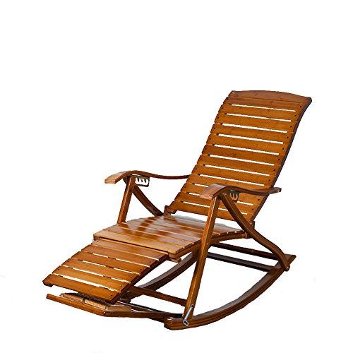 L&J Schaukelstühle,Portable faltung solide Holz terrasse Liege Stuhl alt Mann liegesessel stühle,Bambus,Traglast 150kg,Stabile langlebige terrasse liegestühle-A -