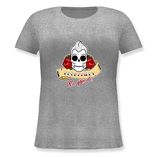 Abi & Abschluss - rockABIlly - wir gehen ab! - Lockeres Damen-Shirt in großen Größen mit Rundhalsausschnitt Grau Meliert