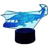 HPBN8 3D Hubschrauber Lampe USB Power 7 Farben Amazing Optical Illusion 3D wachsen LED Lampe Formen Kinder Schlafzimmer Nacht Licht【7 bis 15 Tage in Deutschland angekommen】