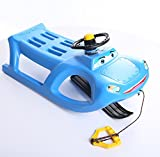 Schlitten Kinderschlitten Rodel aus Kunststoff mit Zugseil und Lenkung Zigi-Zet Control 2 Farben (Blau)