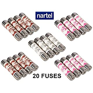 Nartel® 20 x Mixed Electrical Ceramic Household Domestic Mains Plug Top Fuses 3A 5A 13A BS1362