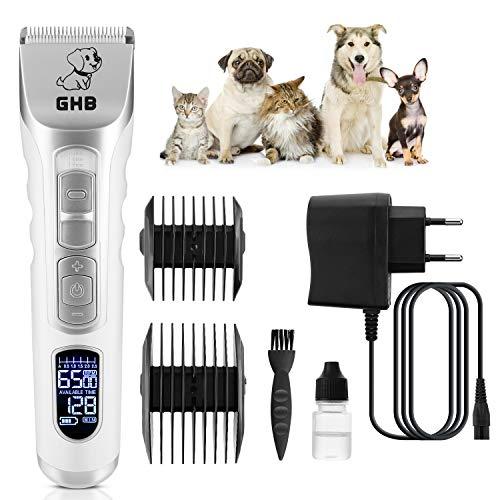 GHB Tondeuse Chien Chat Professionnelle Tondeuse Animaux Electrique avec Ecran LCD Sans Fil Rechargeable