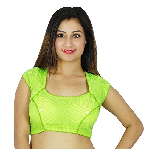 Dense Paillettes Designer Bollywood Crop-Top Ready-Made Blouse Vert
