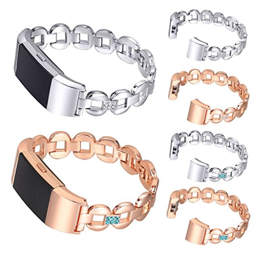 Tolulu Fashion Women Hollow Bracelet Strap Bangle For Fitbit Charge 2 Stainless Steel Replacement Metal RHINESTONE Bracelet Band +Connector
