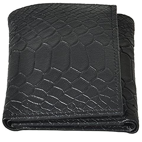 AzraJamil Anaconda Skin Emboss Premium Finished Leather Tri-Fold Wallet (Ohio Vintage-note)