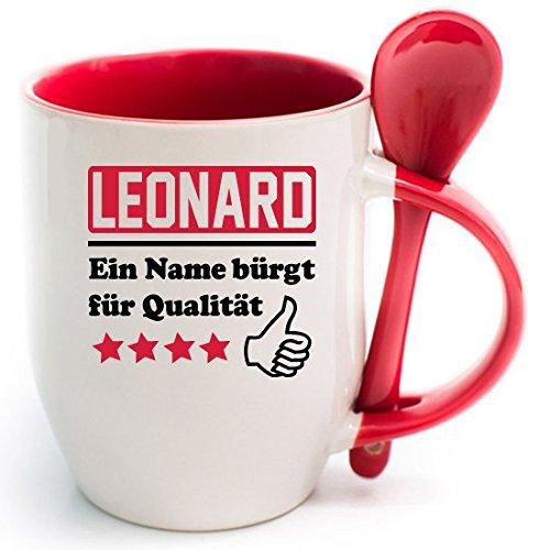 Becher Rot + WM Tasse Leonard. Ein Name bürgt für Qualität + WM 2018' 2 Tassen 1 Preis. Siehe auch Produktbild 2.